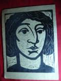 Xilo-Gravura- Portret- ,dim. partea pictata= 22,3 x 28,2 cm