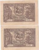 ROMANIA 2 LEI 1915 VICE GUVERNATOR XF SERIE CONSECUTIVA - pret per lot