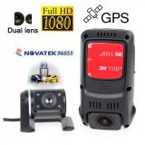 Camera Auto Dubla,Procesor NT96655,Senzor Video Aptina,Full HD,GPS