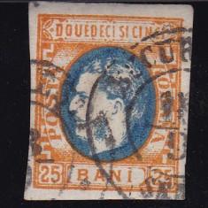 ROMANIA 1869 LP 28 MI 24 CAROL I CU FAVORITI VAL 25 BANI PORT./ ALBASTRU STAMP - Timbre Romania, Stampilat