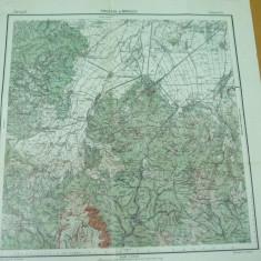 Predeal Brasov Transilvania harta militara color serviciul geografic al armatei