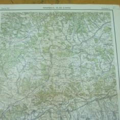 Porumbacul de Jos Avrig Sibiu Transilvania 1930 harta militara color - Harta Romaniei