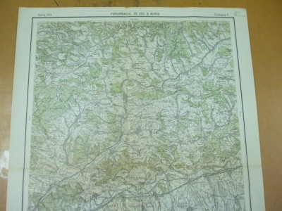 Porumbacul de Jos Avrig Sibiu Transilvania 1930 harta militara color foto