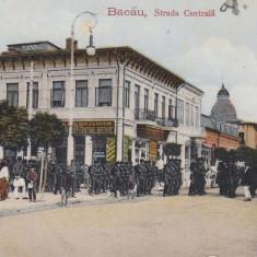 BACAU, STRADA CENTRALA, MILITARI, MAGAZIN COLONIALE SI BAUTURI, BACANIE - Carte Postala Moldova dupa 1918, Circulata, Printata