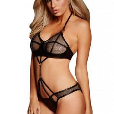 P430-1 Lenjerie sexy tip body cu plasa si vinil - Body dama, Marime: M