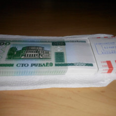 100 ruble belarus 2000, lot de 100 bucati (fasic) (P002), Europa