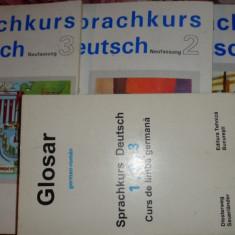 Sprachkurs deutsch 3 vol.+glosar (curs de limba germana) an 1994/825+407pag - Curs Limba Germana