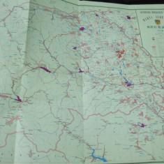 Suceava 1976 Moldova Bucovina harta judetului color - Harta Romaniei