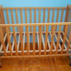 Patut de lemn cu doua nivele - Patut lemn pentru bebelusi, 120x60cm, Maro