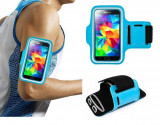 Husa brat jogging waterproof Armband pt Samsung S6 / S5/ S4/ S3 + folie ecran, iPhone 6/6S, Albastru, Textil, Apple