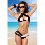 Costum de baie Xonia L negru cu alb - Sex Shop Erotic24, Doua piese