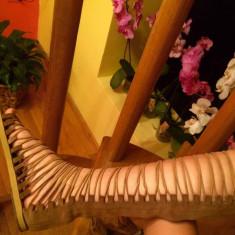 Sandale gladiator/romane, piele naturala intoarsa - Sandale dama, Culoare: Nude, Marime: 36, Piele intoarsa