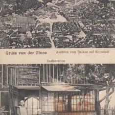 BRASOV SALUTARI DE LA TAMPA RESTAURANTUL DIN GROTA BETHLEN CIRC. 1917 CENZURA - Carte Postala Transilvania 1904-1918, Circulata, Printata