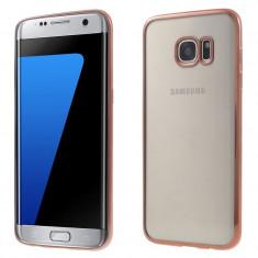 Samsung S7 Edge - Husa Ultra Slim 0.3mm Din Silicon Transparent Margine Gold - Husa Telefon, Samsung Galaxy S7 Edge