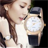 Ceas dama model GENEVA SIMPLY gold clasic + cutie simpla cadou, Otel, Piele ecologica, Analog