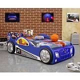 Pat copii masina Monza albastru