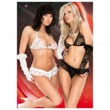 Lenjerie sexy Paula S/M neagra 3 piese - Sex Shop Erotic24 - Lenjerie sexy femei