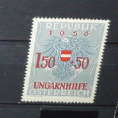 AUSTRIA 1956 – ANIVERSARI. UNGARNHILFE, timbru nestampilat cu SUPRATIPAR, B13