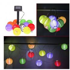 Ghirlanda lampioane colorate, cu baterie solara