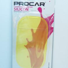 Pad (covoras) autoadeziv silicon fixare bord auto, galben transparent, pentru telefoane - Ornamente interioare auto