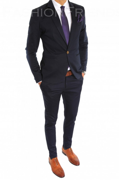 Costum tip ZARA - sacou + pantaloni costum barbati casual office  - 6601 foto mare