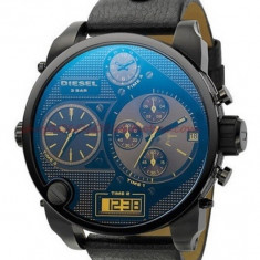 CEAS BARBATESC DIESEL ONLY THE BRAVE DUALTIME DZ-7127 OVERSIZE BLACK-MODEL NOU, Casual, Quartz, Inox, Piele, Data