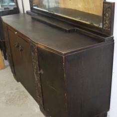 Servanta vintage/antica, lemn masiv sculptat manual; Bufet; Dulap; Comoda, Comode si bufete, Art Deco, 1900 - 1949