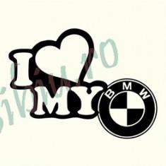 I love My BMW_Tuning Auto_Cod: CST-050_Dim: 15 cm. x 11.2 cm. - Stickere tuning
