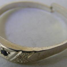 Inel vechi din argint cu piatra albastra (1) - Inel argint