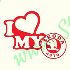 I Love My Skoda_Tuning Auto_Cod: CST-051_Dim: 15 cm. x 11.4 cm. - Stickere tuning
