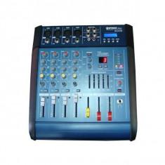 Mixer audio cu amplificare WG-4D USB cu putere de 2 x 100 W,4 canale,cititor USB