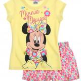 Pijama de vara Disney Minnie galben/alb imprimat