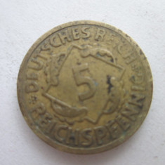 Germania 5 reichspfennig 1924(E), Europa, Bronz-Aluminiu