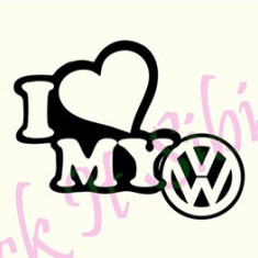 I Love My Volkswagen_Tuning Auto_Cod: CST-063_Dim: 15 cm. x 11.9 cm. - Stickere tuning
