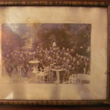 GE - Fotografie foto tablou veche mare grup ofiteri militari romani Targoviste - Fotografie veche