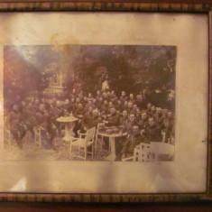 GE - Fotografie foto tablou veche mare grup ofiteri militari romani Targoviste