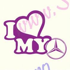 I Love My Mercedes_Tuning Auto_Cod: CST-059_Dim: 15 cm. x 11.7 cm. - Stickere tuning