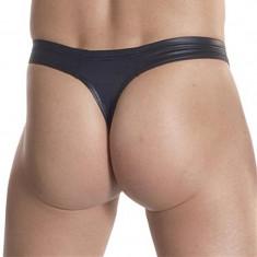 Tanga barbati - aspect PIELE - nylon elastic cu aspect piele neagra div. marimi - Chiloti barbati, Marime: S/M, Culoare: Negru