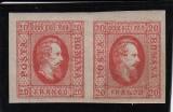 ROMANIA 1865  LP 17  CUZA EFIGIA DOMNITORULUI  IN OVAL PERECHE POINCON L.PASCANU, Nestampilat