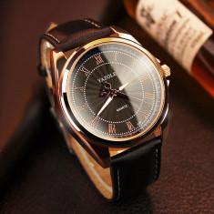 Ceas de mana NOU auriu, 100% ORIGINAL, piele, elegant negru barbatesc pt barbati - Ceas barbatesc, Lux - elegant, Quartz, Inox, Rezistent la apa