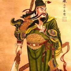 Pictura in acuarela - Guangong-War King - Tong Yin 132 Cm x 63 Cm - Pictor strain, Natura, Realism