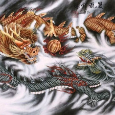 Pictura in acuarela - Two Fengshui Dragon - Liang Xuan 132 Cm x 63 Cm - Pictor strain, Natura, Realism