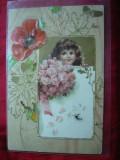 Ilustrata -Litografie - Fetita Flori ,circulat 1901 de la Suceava la Buc.,goarna
