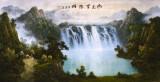 Pictura in acuarela reproducere - Cascada de langa casa  - Zhang Yuan 132x63 cm