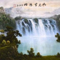 Pictura in acuarela - Cascada de langa casa - Zhang Yuan 132 Cm x 63 Cm - Pictor strain, Natura, Realism