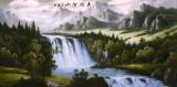 Pictura in acuarela reproducere - Peisaj montan si cascada-Zhang Yuan 132x63 cm