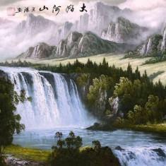 Pictura in acuarela - Peisaj montan si cascada - Zhang Yuan 132 Cm x 63 Cm - Pictor strain, Natura, Realism