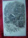 Ilustrata -Litografie -Peisaj rural iarna ,circ.5 bani Spic de Grau ,goarna133