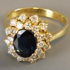 Inel aur cu diamante si safir - Inel diamant, Carataj aur: 18k, Culoare: Galben, 57 - 67