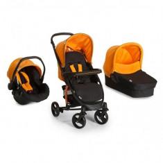 Set Carucior 3 in 1 Miami 4S Trioset Caviar Orange Hauck - Carucior copii 3 in 1